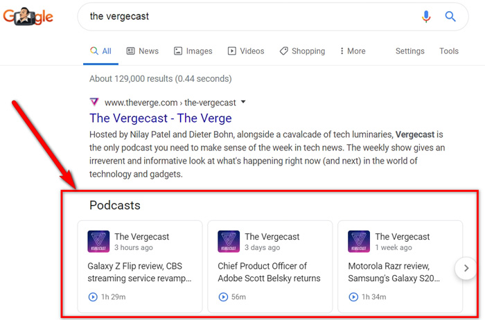 podcast episodes to display in Google search results